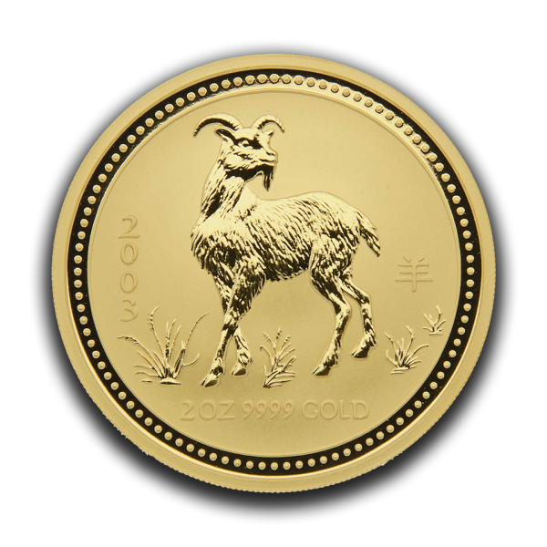 gold 9999 2oz australien 2003 goat front