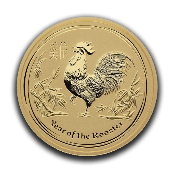 gold 9999 2oz australien 2017 rooster front